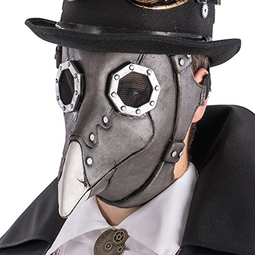 Carnival Toys 1484 Máscara Steampunk Cuervo, Gris, talla