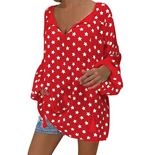Tunika für Damen, langärmliges T-Shirt, V-Ausschnitt, einfarbig, lose Blusen, Henley-Hemden Gr. L, rot