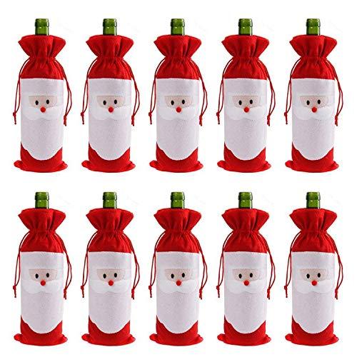EPRHAY Weihnachtsmann mit Kordelzug für Weinflaschen, für Zuhause, Abendessen, Party, Dekoration, Tischdekoration, X-Mas Geschenk, Freunde, Familie, Weihnachtsdekoration, 10 Stück