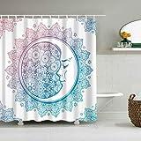 XCBN Kreative wasserdichte und schimmelresistente Dusche abstrakte Mandala Mond und Sterne...