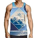 Hiser sans Manches Homme Débardeur, Respirant 3D Imprimé Muscle Tank Top, T-Shirt Sleeveless Débardeurs pour Homme Garçon Workout Musculation Exercising (des Nuages,L)