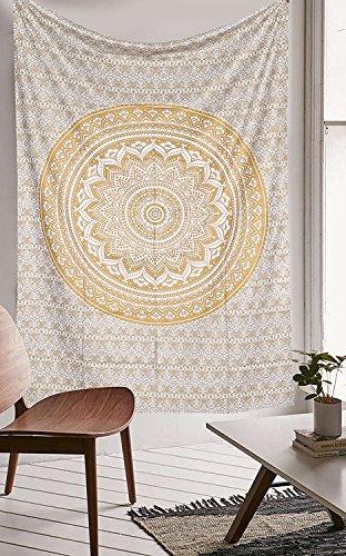 Aakriti Gallery Wandteppich in Queen-Größe,, ombriert, Hippie-Wandteppich, mit psychodelischem. kompliziertem Mandala-/Boho-Muster; indische Tagesdecke, 234 x 208 cm Golden Old Ombre