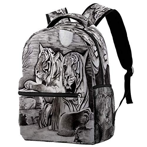 Mochila de lagartos en blanco y negro mochila escolar bolsa de libro mochila casual para viajes, estampado 3, Talla única, Mochila de a diario