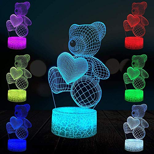 Hart beer 3D lamp verlichting LED USB sfeertafel liefde nachtlicht Action Toy Figuren Child Kid Toy Gift