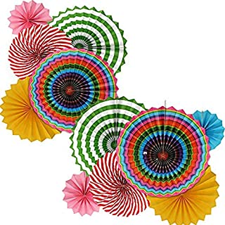 """Adorox Set of 12 Vibrant Bright Colors Cino De Mayo Hanging Paper Fans Rosettes Party Decoration for Holidays 8"""" 12"""" 16"""" Various Sizes Fiesta (2 Pack) (Blue)"""