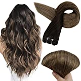 Full Shine Sew In Extensions 20 Inch Silky Straight Remy Human Hair Bundles Color 2 Darkest Brown Fading To 8 Ash Brown Balayage Real Hair Weft Double Wefted Extensions 100 Gram