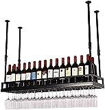 Soporte Para Copas De Metal Para Colgar En La Pared Estante Para Botellas De Vino Techo Estante Para Vino Ajustable En Altura, Colgante Para Colgar Estante Para Botellas De Vino,Negro,100*35cm