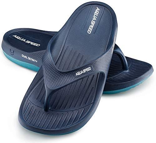 Aqua Speed Zehentrenner Badelatschen Männer | Blaue Badesandalen für Herren | Duschen Zehenstegsandalen | Shower Sandals | Slide I Badeschuhe | Sauna | Schwimmbad | Gr. 43, Blau | Alcano