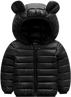 OCEAN-STORE Children Boys Girl Winter Coats Down Jacket Zip Thick Ears Snow Hooded Outwear