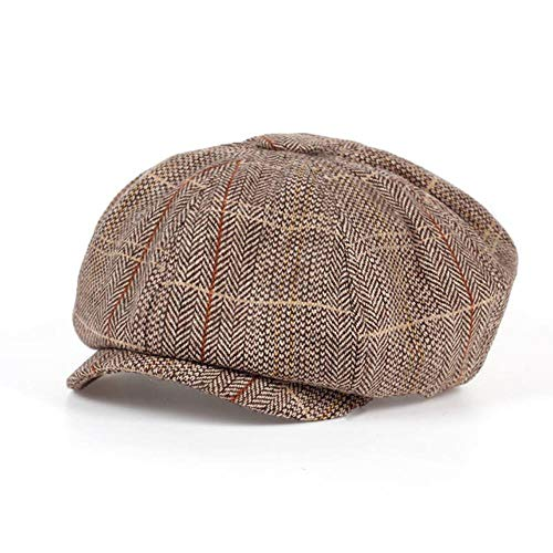 Clareta Gentleman Octagonal Cap Newsboy Beret Hat Autumn and Winter for Men's Jason Statham Male Models Flat Caps,Khaki