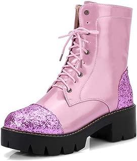 GIY Women's Block Heel Ankle Booties Glitter Round Toe Lace-up Slip On Platform Dress Short Booties