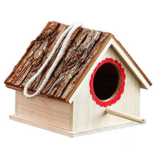Jaula de pájaros Nido de Loros Madera Maciza Nido de pájaros cálido Caja de cría Nido de pájaros Decorativo para Exteriores Suministros para Mascotas Casas para pájaros (Color: Marrón, Tamaño: 17.5