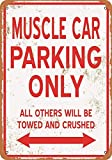 Retro Vintage Tin Sign 16'X12'Muscle Car Parking Only,Poster Warning Plaque Art Decor for Garage Home Garden Store Bar Metal Decor Vintage Wall Tin Sign