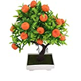 Ogquaton Artificial Orange Tree, 1Pc Artificial Orange Tree Bonsai Potted Plant Landscape Party Home Garden Decor New Released
