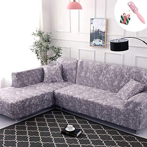 Funda Sofá Chaise Longue de 3 plazas Estiramiento, Morbuy Mármol Impresión Universal Cubierta de Sofá Cubre Sofá Funda Furniture Protector Antideslizante Sofa Couch Cover (3 plazas,País de los