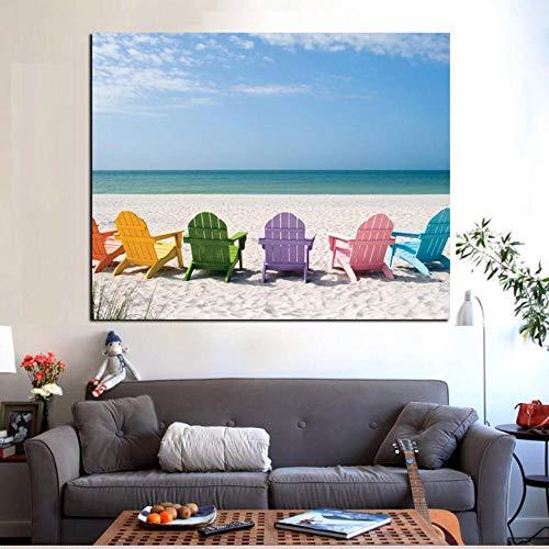 Gemälde Poster Ozean und Blauer Himmel Seelandschaft Leinwand Malerei Strandkorb Druck auf Bild Wandmalerei für Wohnzimmer Wandkunst Dekoration