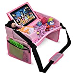 DMoose Kids Travel Tray, Toddler Car Seat Lap Activity Tray with Padded Comfort Base, Side Walls, Mesh Snack Pockets, Tablet Holder, Waterproof Car Seat, Stroller, Airplane Play and Learn Area (Pink)