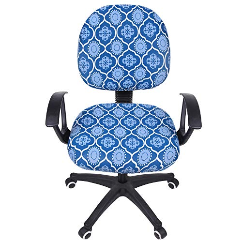 smiry Stretch Print Computer Office Chair Cover, Removable Washable Universal Desk Rotating Chair Slipcover, Blue Vintage