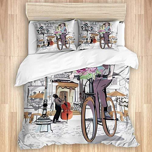 Funda nórdica, Parisino con Bicicleta y Rosa Niña en el Viaje romántico...