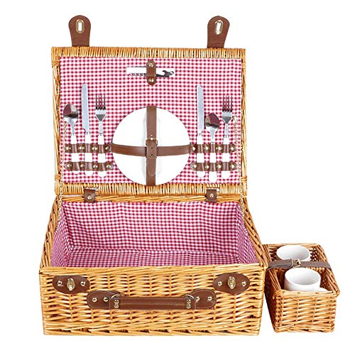HO-TBO Picknickkorb, Willow Picknickkorb mit Service Set for 2 Personen, Natur Wicker Picknickkorb Tragbares Outdoor-Tisch & Picknickgeschirr (Color : Yellow, Size : 45x34x18cm)