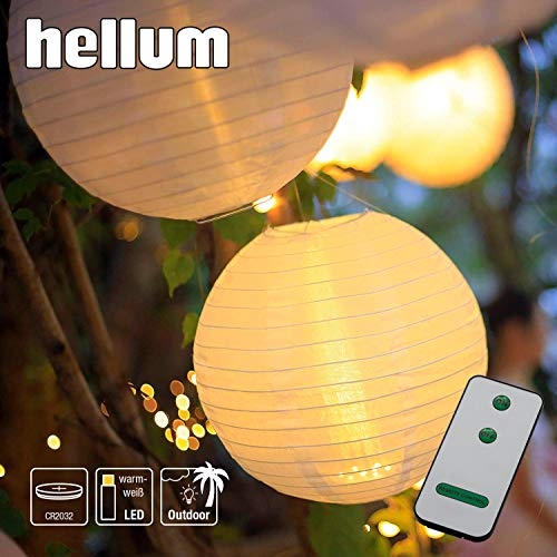 Hellum LED Lampion Lichterkette außen, Warmweiß LED Lampion mit Fernbedienung 12x30cm wetterfest Laterne Beleuchtung batteriebetrieben wasserdichtem Teelicht und Lampenschirm Party Garten 524512