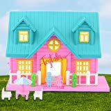 TOYTALES Dreamhouse Doll House Building 2 Room (18 Pc Set) for Girls, Playset with Furniture & Accessories with Bedroom, Role-Play Set for Kids - Set of 18 Piece (Assorted Colour)