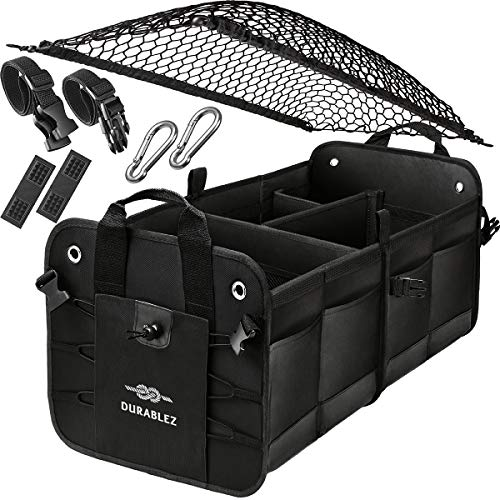 Trunk Organizer with Covering Net, Attachable Non-Slip Pads, and Stainless Hooks, Black