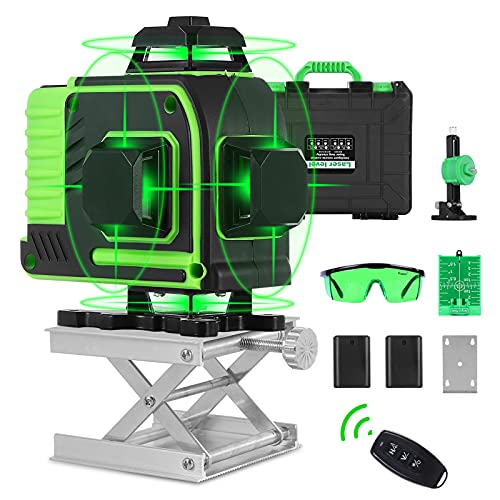 4D Self-Leveling Laser Level 4x360 Green Beam Cross Line Laser Four-Plane Leveling and Alignment Line Laser Level -360° Vertical and Horizontal Line with Hard Carry Case Laser Tool Kit