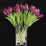 Beada Flor del Tulipan del Latex del Tacto Real para La Decoracion El Ramo De La Boda De La Mejor Calidad KC455 (20 PC)