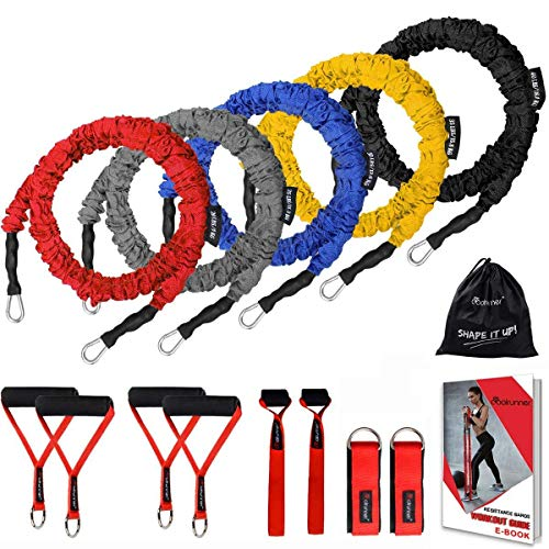 HORKEY 14 PCS Resistance Bands Set, Exercise Tubes, 20lbs to 40lbs Workout Bands with Handles Protective Nylon Sleeves Door Anchor Ankle Strap, Elastic Exercise Bands for Men Women - up to 150lbs