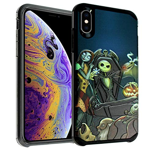 iPhone XR Case, IMAGITOUCH 2-Piece Style Armor Case with Flexible Shock Absorption Case & Nightmare Before Christmas Design Cover Hybrid for iPhone XR-Nightmare Before Christmas Hybrid