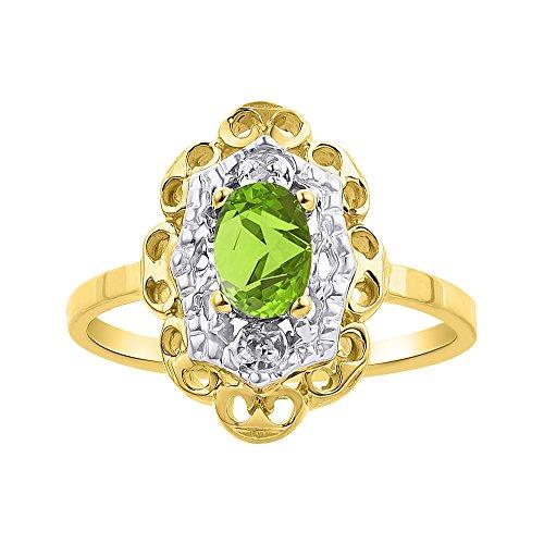 Diamond & Peridot - Juego de anillos de oro amarillo de 14 quilates