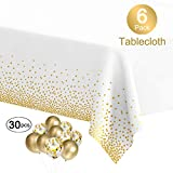 MOOXY Plastic Tablecloths for Rectangle Tables, 6 Pack Disposable Party Table Cloths, Gold Dot Confetti Table Covers with 30 Balloons for Birthday Parties Wedding Anniversary Baby Shower, 54' x 108'