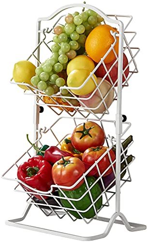 YGJT Frutero de 2 Cestas, Fruteros de Cocina Modernos para Frutas, Verduras, Bocadillos, Frutero Multifuncional de Hierro