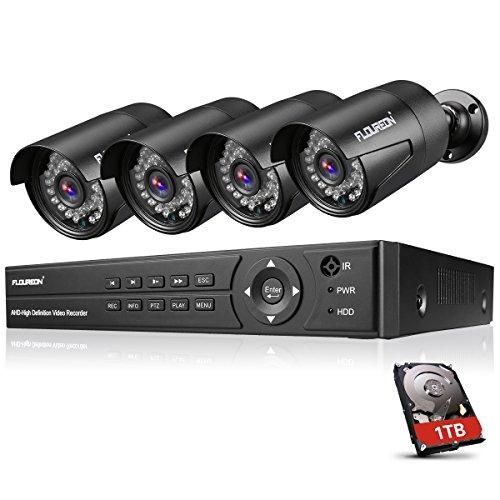 FLOUREON DVR Kit Videosorveglianza Sistemi Videocamera (8CH AHD 1080N AHD DVR + 4X 3000TVL 1080P 2.0MP Bullet Camera Esterno + 1TB Disco Rigido)