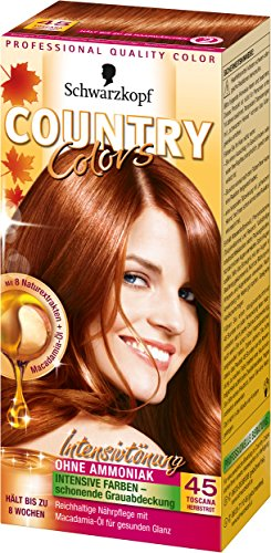 SCHWARZKOPF COUNTRY COLORS Intensiv-Tönung, Haarfarbe 45 Toscana Herbstrot, Stufe 2, 1er Pack (1 x 123 ml)