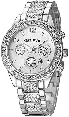 Unisex Diamond Watches Luxury Men and Women Calendar Quartz Clock Rose Gold Silver Stainless Steel Watch (Silver)