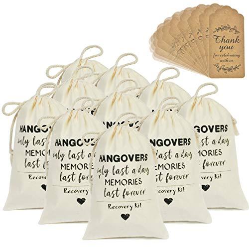DÉCOCO 10 Bolsas (4 'x 6' ') y Etiquetas de Regalo Bolsas de Resaca Bolsas de algodón Cordón Boda Bienvenido a Vacaciones Recuperación de Supervivencia Regalos de Dama de Honor
