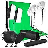 MVPOWER Fondo Fotográfico Backdrop con 2 x 3 m Soporte de Fondo + 1.6 * 2m Fondos (NegroBlanco) + 2 Pinzas + Bolsa de Transporte para Fotografía y Vídeo (Verde-Blanco)