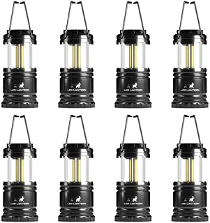 MalloMe LED Camping Lantern Flashlights 2 Pack & 4 Pack - Super Bright - 350 Lumen Portable Outdoor Lights (Black, Collapsible)