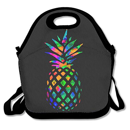 SARA NELL Neoprene Colorful Pineapple Lunch Bag Insulated Summer Fruit Rainbow Pineapple Lunch Backpack Lunchbox Handbag with Adjustable Shoulder Strap Best Gift for Men Women Teen Boys Girls