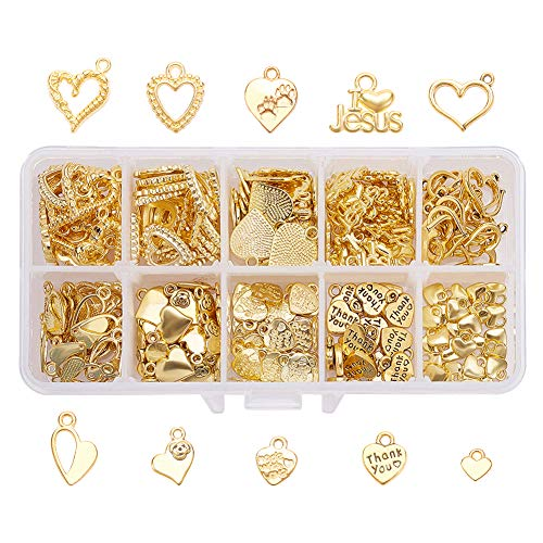 PH PandaHall 150pcs 10 Styles Love Heart Pendants Charms I Love Jesus Words Charms for Valentines Day Thanksgiving Day DIY Necklace Bracelet Making