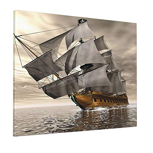 Hat&C Ocean 3D Style Pirate Ship Sea Historic Vessel Cloudy Sky Voyage Exploration Theme Grey Light Coffeepainting 16' X 20' Panoramic Canvas Wall Art