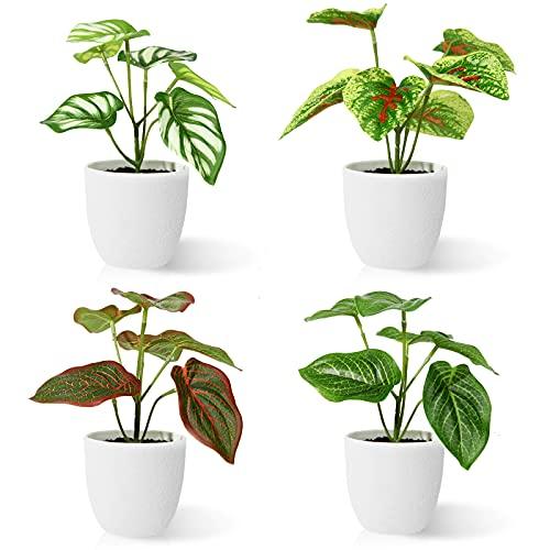 Kazeila Plantas Artificiales Decorativas 15 cm Planta Artificial Pequeña en Macetas Plastico para de la Casa Cocinas Oficinas Interior y Exterior(4Pcs)