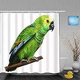 SUHOM Duschvorhang,Grüner brasilianischer Papagei,personalisierte Deko Badezimmer Vorhang,mit Haken,180 * 180
