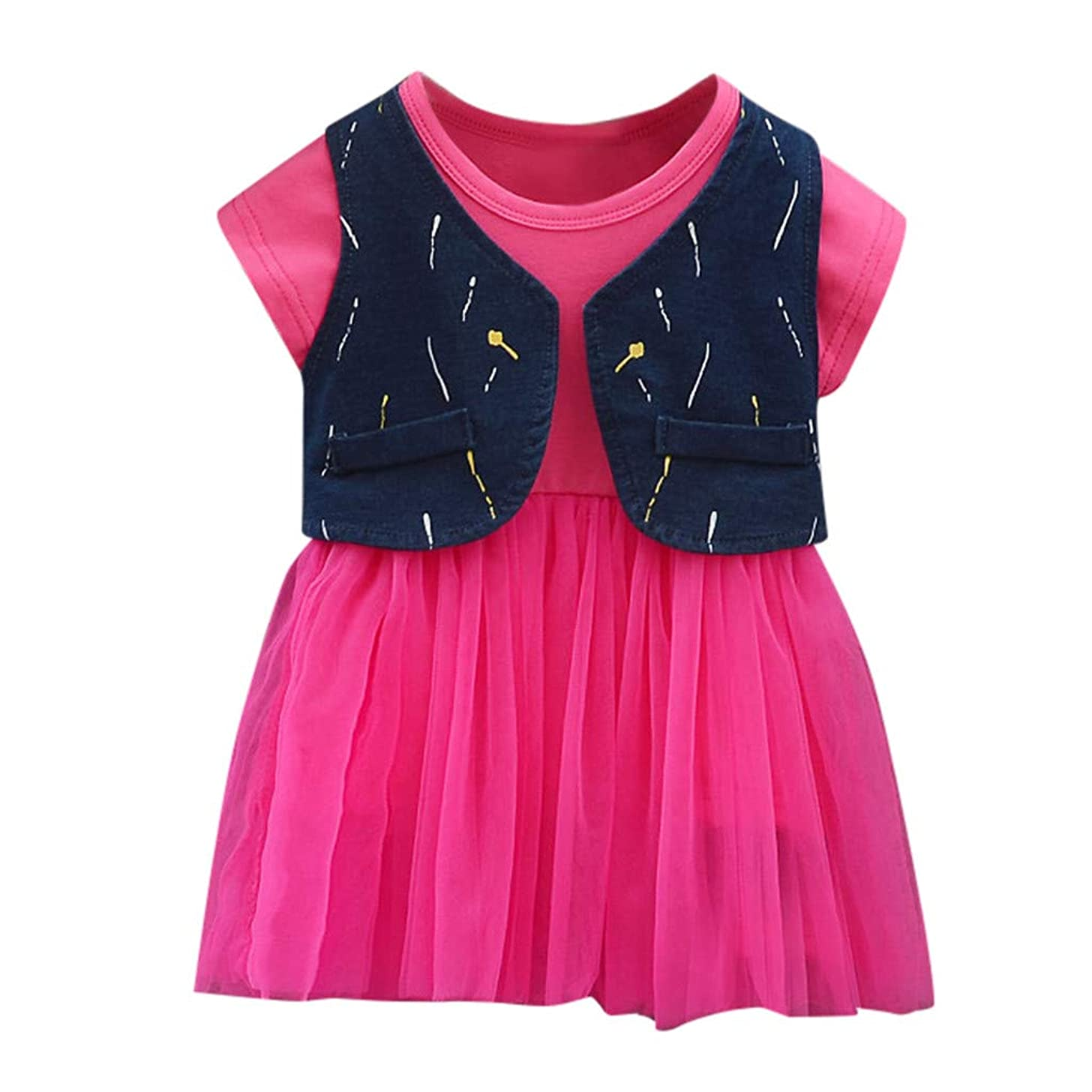 TIFENNY Toddler Baby Casual Dresses Kids Girls Crewneck Sleeveless Tulle Flowers Ruched Dress Princess Dresses