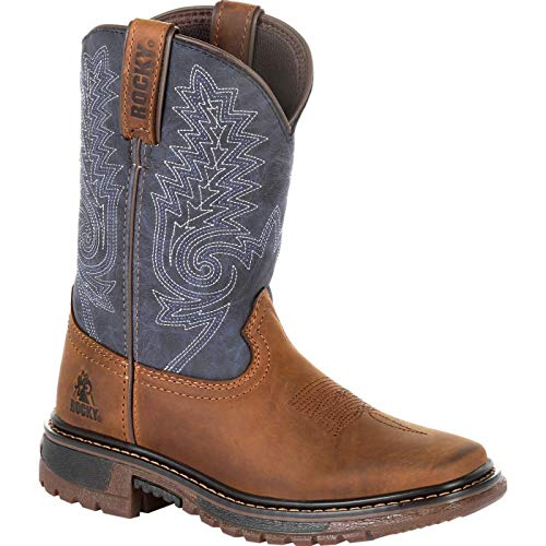 Rocky Boys' Ride FLX Western Boot Square Toe Brown 6.5 D