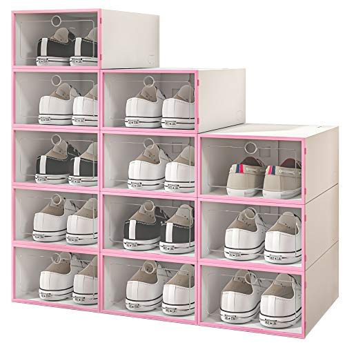 COZYTALK Shoe Organizer 12 Pack Shoe Storage Boxes Space Saving Shoe Rack with Clear Drop Front Lid Ideal Storage for Sneaker Accessories and Crafts Size 9 Men 10 Women 122x846x492In