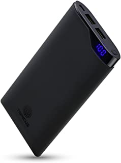 10000mAh Portable Charger, top4cus 2.1A Ultra-Slim Compact External Battery Power Bank LCD Digital Dual USB Ports for iPhone X 8 7 6/ipad/Android