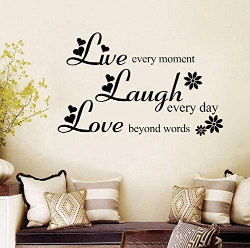 Zjxxm Liebe Über Worte Lachen Jeden Tag Leben Jeden Moment Inspirierende Zitate Vinyl Entfernbare Wandaufkleber Wohnzimmer Wohnkultur 60 * 97Cm